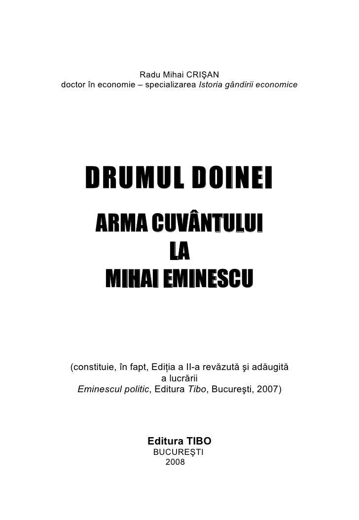Radu Mihai Crisan ARMA CUVANTULUI LA MIHAI EMINESCU