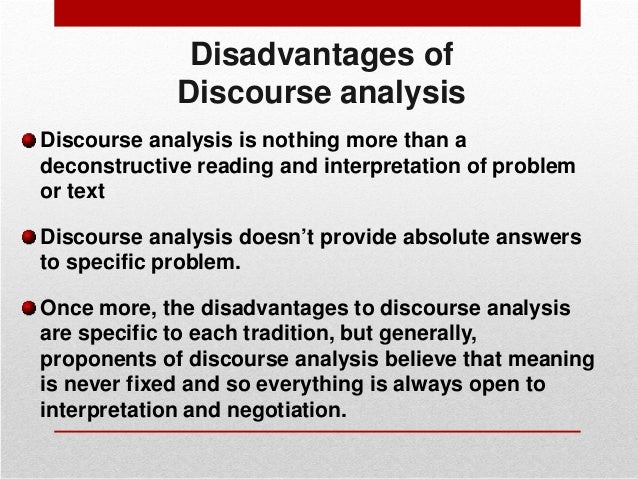 analyse the ways in which discourse Discourse analysis gives us at creativeconnection some tools to analyse conversations in a slightly more organised fashion discourse analysis  ways for example.