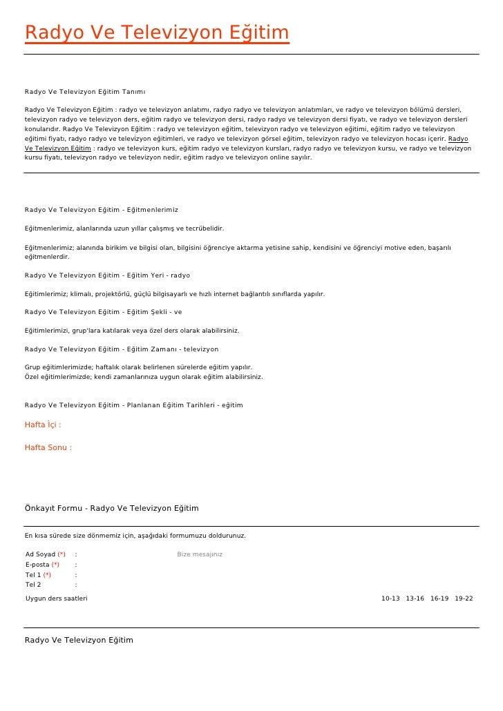 Radyo Ve Televizyon EğitimRadyo Ve Televizyon Eğitim TanımıRadyo Ve Televizyon Eğitim : radyo ve televizyon anlatımı, rady...