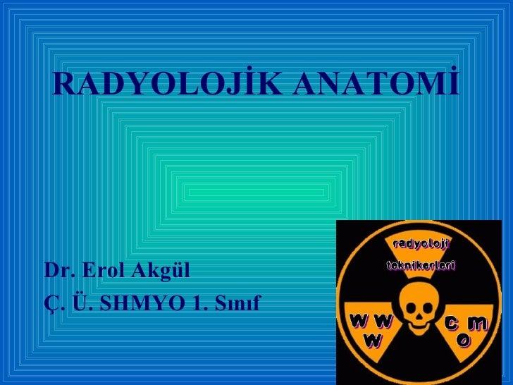 RADYOLOJİK ANATOMİ <ul><li>Dr. Erol Akgül </li></ul><ul><li>Ç. Ü. SHMYO 1. Sınıf </li></ul>