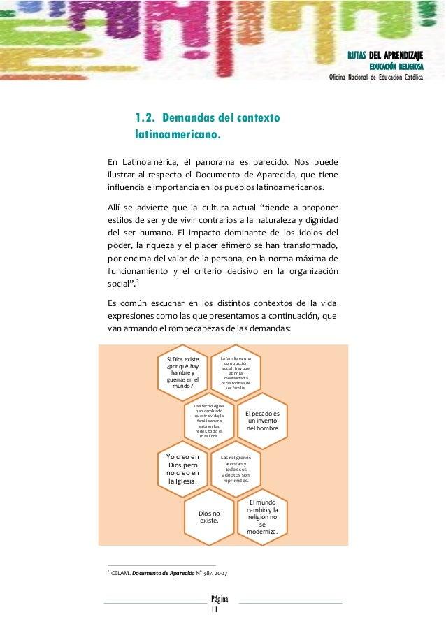 RUTAS DEL APRENDIZAJE EDUCACIÓN RELIGIOSA Oficina Nacional de Educación Católica  1.2. Demandas del contexto latinoamerica...