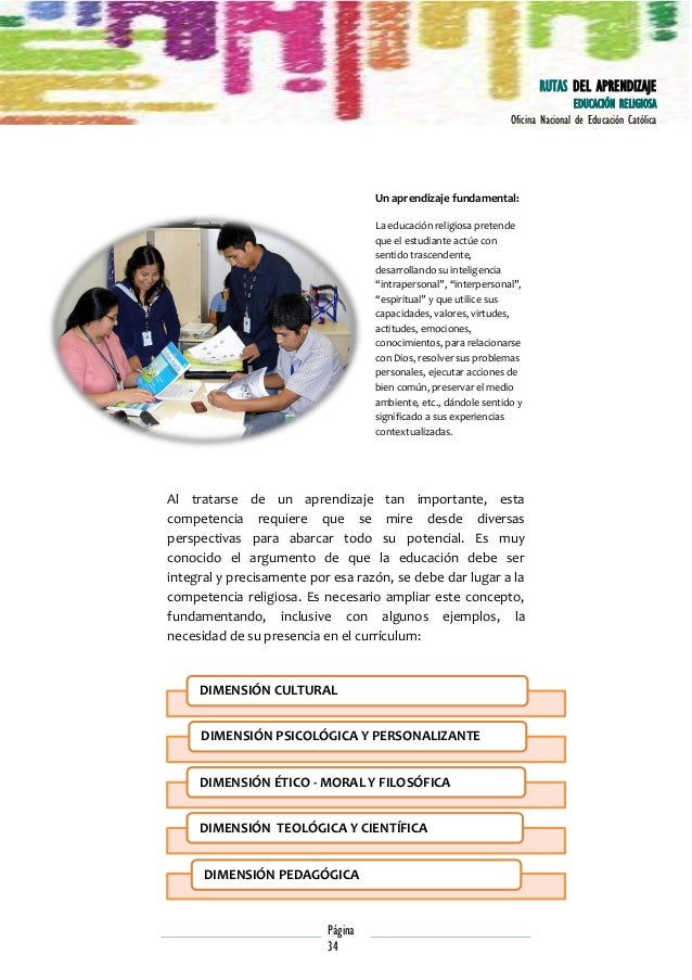 RUTAS DEL APRENDIZAJE EDUCACIÓN RELIGIOSA Oficina Nacional de Educación Católica  Un aprendizaje fundamental: La educación...