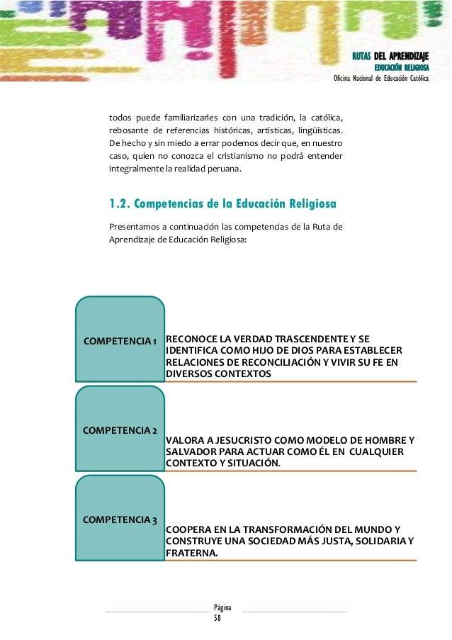 RUTAS DEL APRENDIZAJE EDUCACIÓN RELIGIOSA Oficina Nacional de Educación Católica  todos puede familiarizarles con una trad...