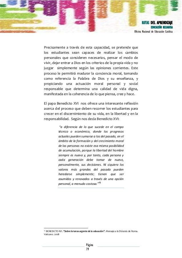 RUTAS DE APRENDIZAJE: EDUCACIÓN RELIGOSA