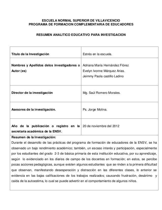 ESCUELA NORMAL SUPERIOR DE VILLAVICENCIO             PROGRAMA DE FORMACION COMPLEMENTARIA DE EDUCADORES                 RE...