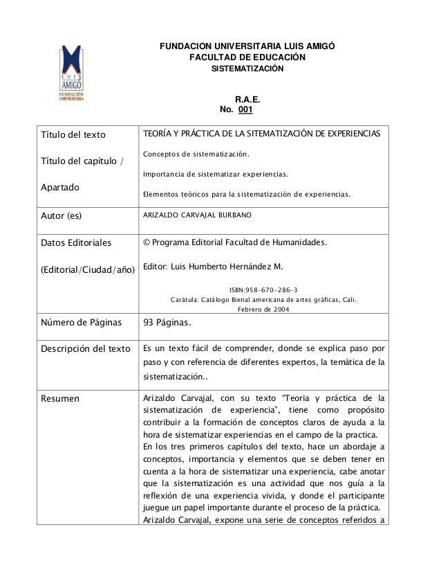 FUNDACION UNIVERSITARIA LUIS AMIGÓFACULTAD DE EDUCACIÓNSISTEMATIZACIÓNR.A.E.No. 001Título del textoTítulo del capítulo /Ap...