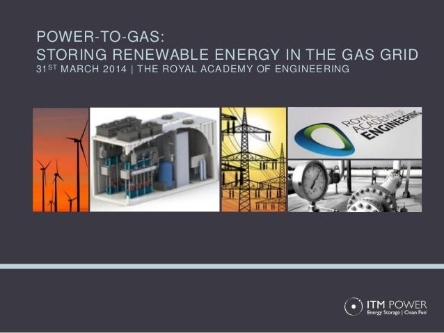 POWER-TO-GAS: STORING RENEWABLE ENERGY IN THE GAS GRID 31ST MARCH 2014 | THE ROYAL ACADEMY OF ENGINEERING