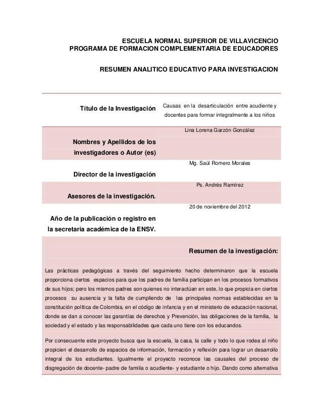 ESCUELA NORMAL SUPERIOR DE VILLAVICENCIO          PROGRAMA DE FORMACION COMPLEMENTARIA DE EDUCADORES                      ...