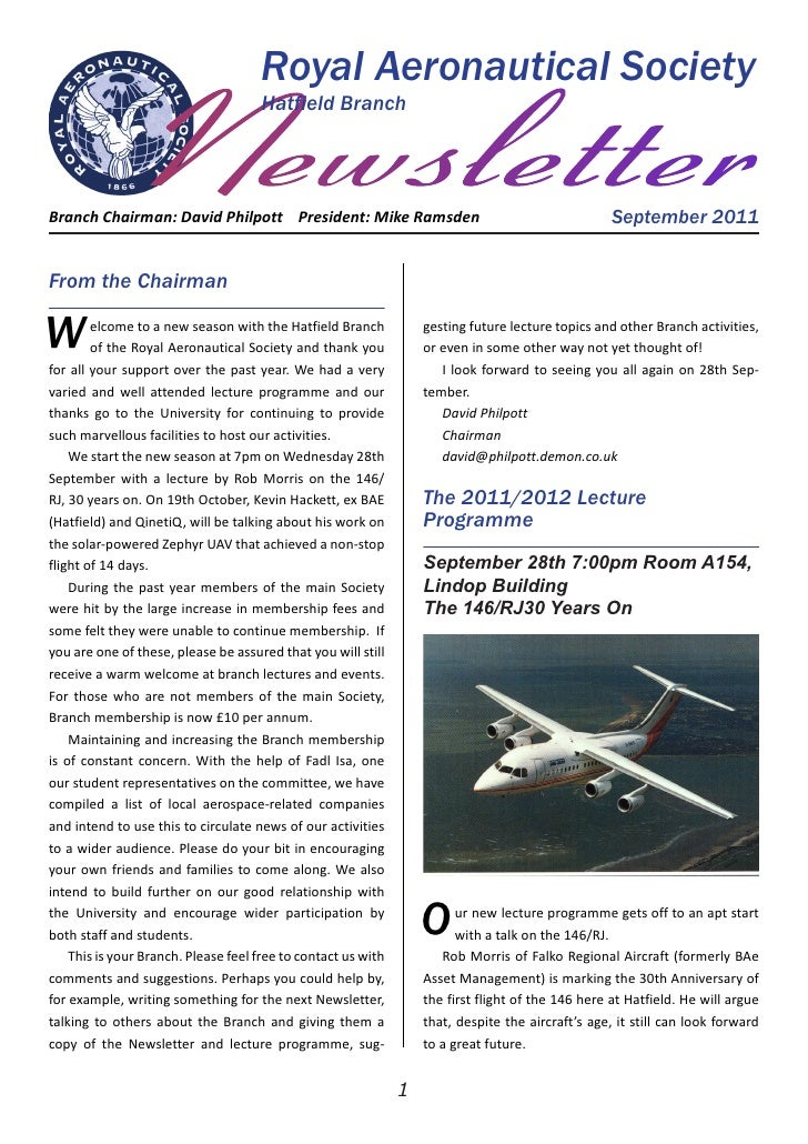 Royal Aeronautical Society        Newsletter                                      Hatfield BranchBranch Chairman: David Ph...