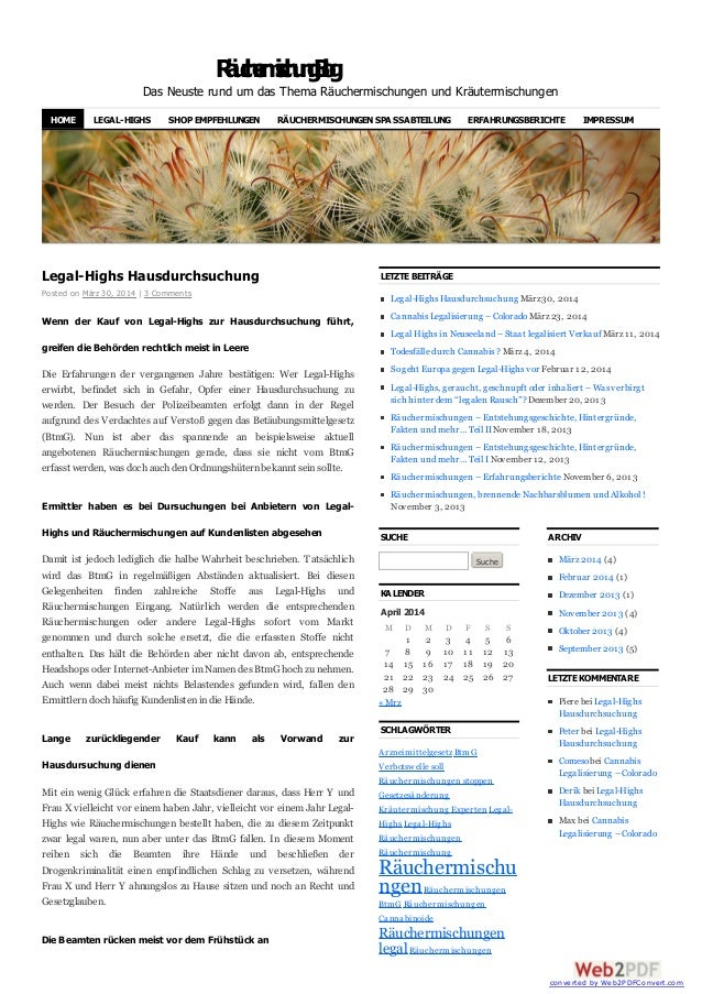 RäuchermischungBlog Das Neuste rund um das Thema Räuchermischungen und Kräutermischungen Legal-Highs Hausdurchsuchung Post...