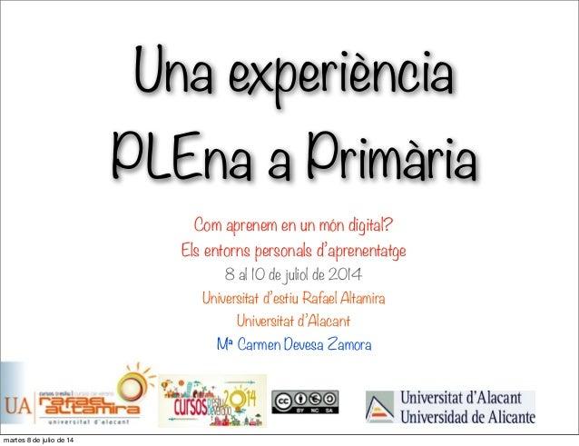 Una experiència PLEna a Primària Com aprenem en un món digital? Els entorns personals d'aprenentatge 8 al 10 de juliol de ...