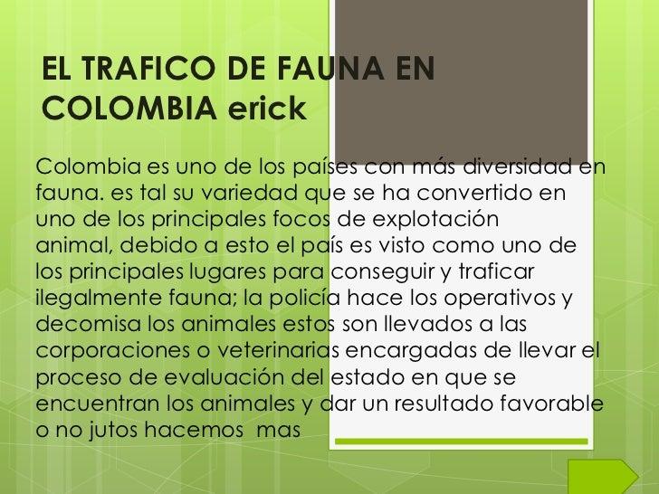 EL TRAFICO DE FAUNA ENCOLOMBIA erickColombia es uno de los países con más diversidad enfauna. es tal su variedad que se ha...