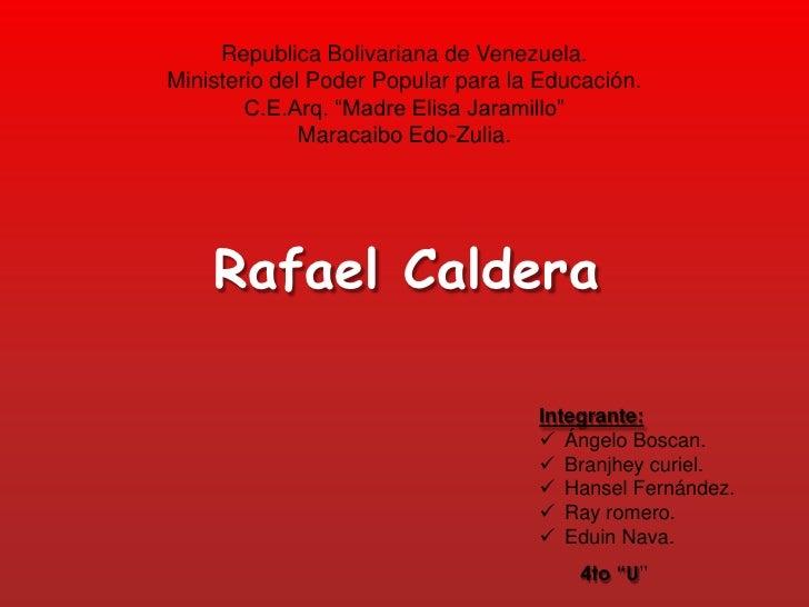 "Republica Bolivariana de Venezuela.Ministerio del Poder Popular para la Educación.        C.E.Arq. ""Madre Elisa Jaramillo""..."