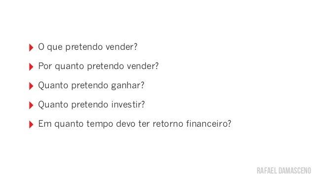 rafael damasceno ‣ O que pretendo vender? ‣ Por quanto pretendo vender? ‣ Quanto pretendo ganhar? ‣ Quanto pretendo invest...