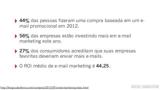 rafael damasceno ‣ 44% das pessoas fizeram uma compra baseada em um e- mail promocional em 2012. ‣ 56% das empresas estão ...