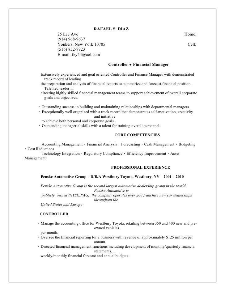 car dealership finance manager resume