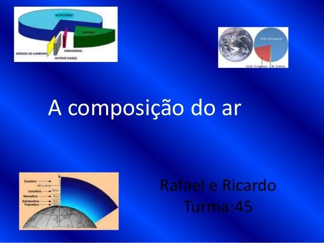 Rafael e RicardoTurma:45A composição do ar