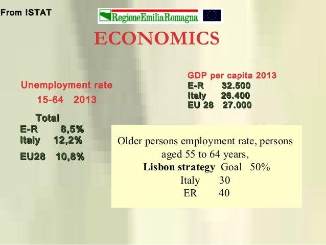 ECONOMICS GDP per capita 2013 E-R 32.500E-R 32.500 Italy 26.400Italy 26.400 EU 28 27.000EU 28 27.000 From ISTATFrom ISTAT ...