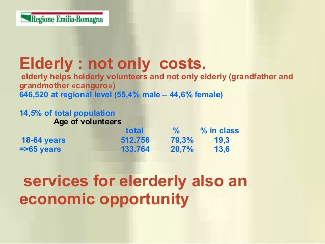 Elderly : not only costs. elderly helps helderly volunteers and not only elderly (grandfather and grandmother «canguro») 6...