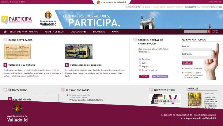 El proceso de Implantación de Procedimientos on line                  en el Ayuntamiento de Valladolid