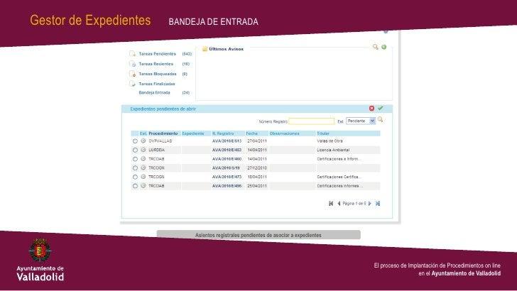 Gestor de Expedientes   BANDEJA DE ENTRADA                                             El proceso de Implantación de Proce...
