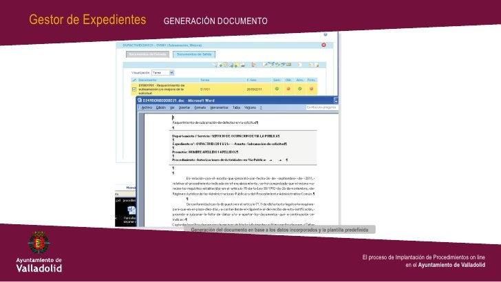Gestor de Expedientes   GENERACIÓN DOCUMENTO                                               El proceso de Implantación de P...