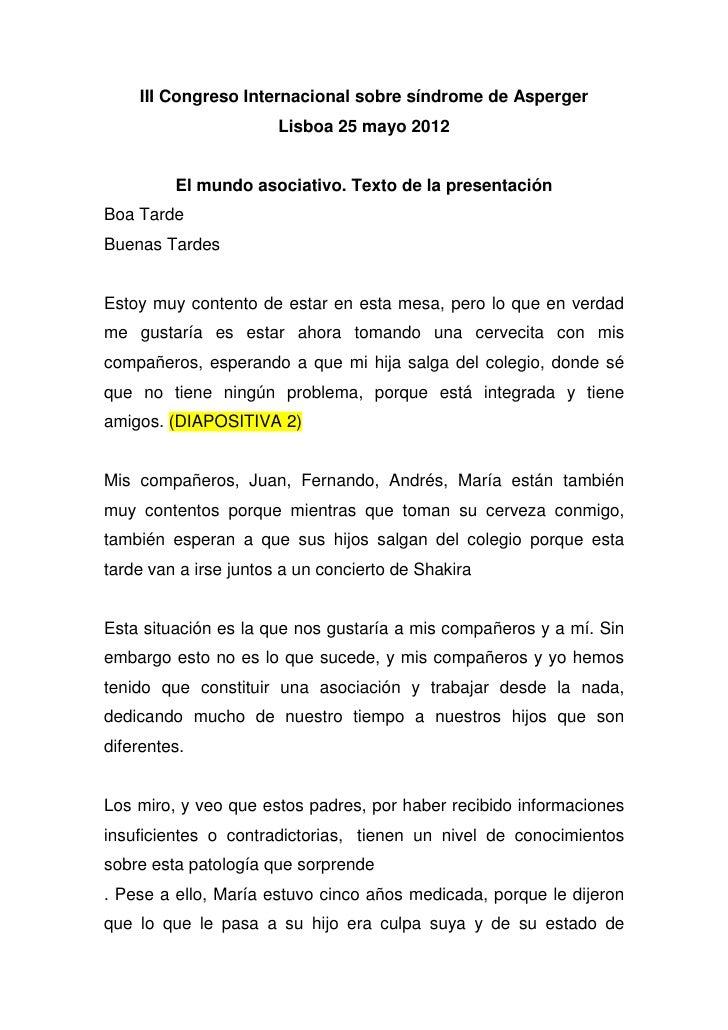 III Congreso Internacional sobre síndrome de Asperger                       Lisboa 25 mayo 2012         El mundo asociativ...