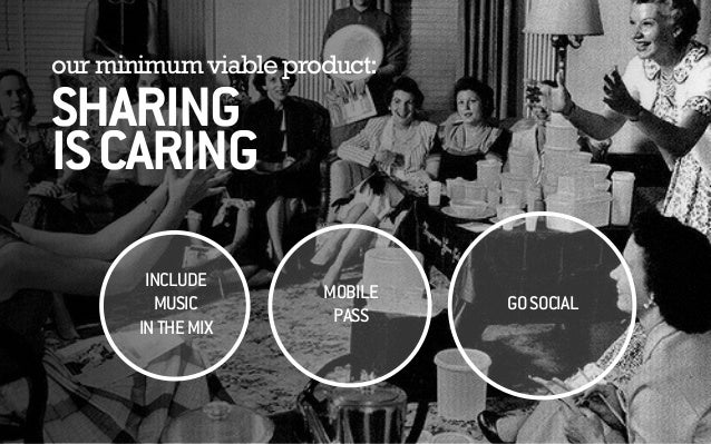 our minimum viable product: SHARING ISCARING INCLUDE MUSIC INTHEMIX GOSOCIAL MOBILE PASS