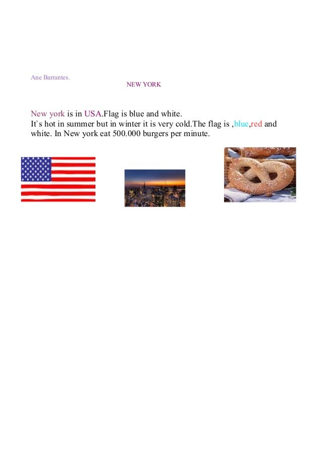 Ane Barrantes. NEW YORK  New york is in USA.Flag is blue and white. It`s hot in summer but in winter it is very cold.The f...