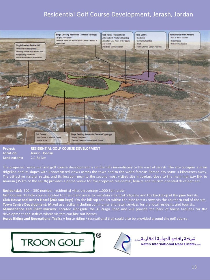 Residential Golf Course Development, Jerash, JordanProject:         RESIDENTIAL GOLF COURSE DEVELOPMENTLocation:        Je...