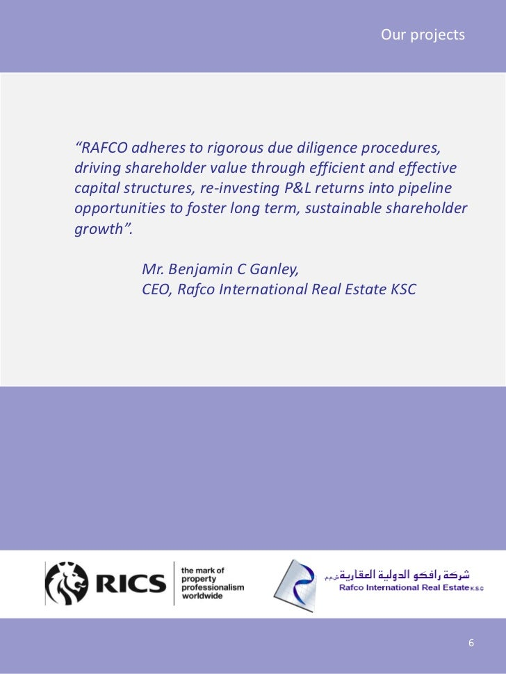 """Our projects""""RAFCO adheres to rigorous due diligence procedures,driving shareholder value through efficient and effectivec..."""