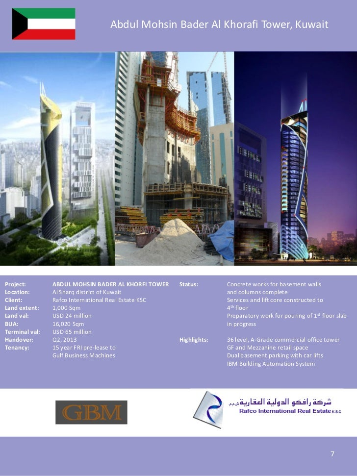 Abdul Mohsin Bader Al Khorafi Tower, KuwaitProject:        ABDUL MOHSIN BADER AL KHORFI TOWER    Status:       Concrete wo...
