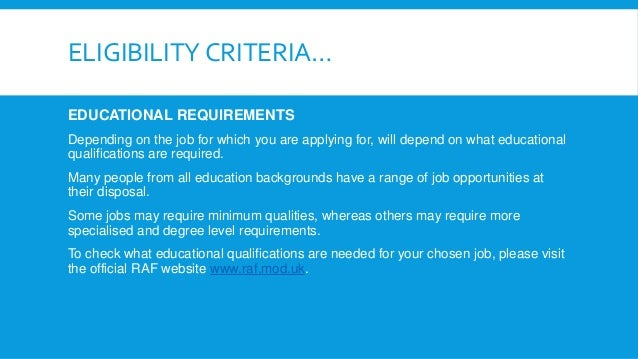 RAF eligibility criteria for joining the Royal Air Force