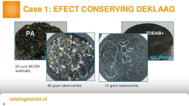 20 Case 1: EFECT CONSERVING DEKLAAG 24 uurs 86.000 wielloads 80 gram steenverlies 10 gram steenverlies rafelinginzicht.nl