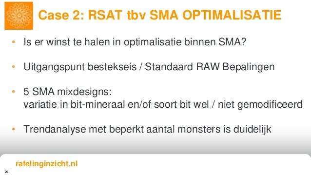 25 Case 2: RSAT tbv SMA OPTIMALISATIE rafelinginzicht.nl • Is er winst te halen in optimalisatie binnen SMA? • Uitgangspun...