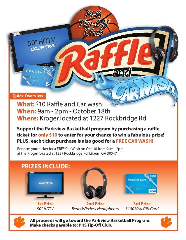2014 Basketball Raffle car wash flyer