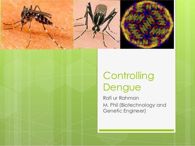 Controlling Dengue Rafi ur Rahman M. Phil (Biotechnology and Genetic Engineer)