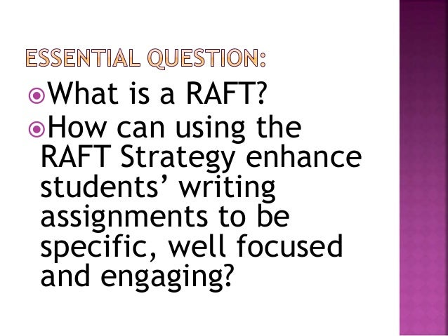 raft writing powerpoint The raft strategy is a lifesaver for differentiating writing raft writing - powerpoint presentations, technology integration ideas, templates, and sample rafts.