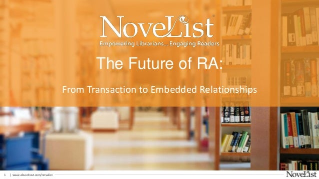 | www.ebscohost.com/novelist1 From Transaction to Embedded Relationships The Future of RA: