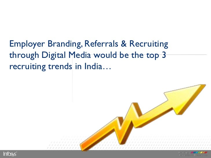 Employer Branding, Referrals & Recruitingthrough Digital Media would be the top 3recruiting trends in India…