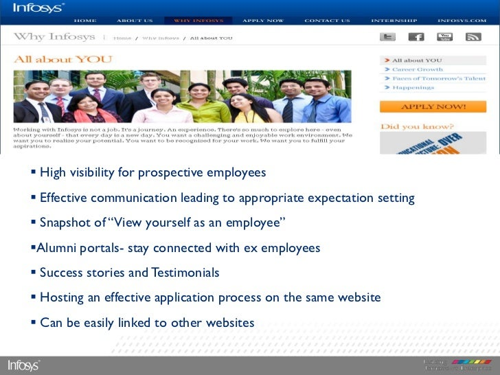  High visibility for prospective employees Effective communication leading to appropriate expectation setting Snapshot ...