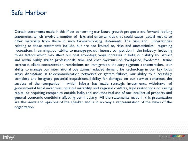 Safe HarborCertain statements made in this Meet concerning our future growth prospects are forward-lookingstatements, whic...