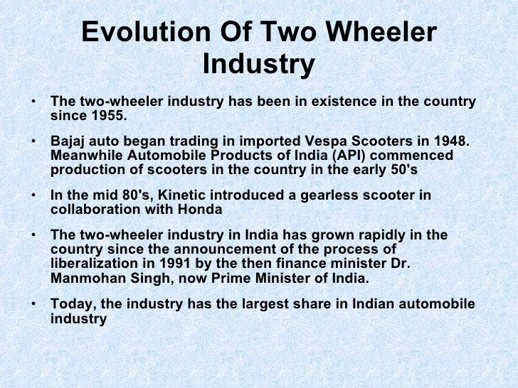 four wheeler industry essay The two wheeler industry has been going steadily over the years all over the world india is not an  customer satisfaction towards honda two wheelers: a case study.