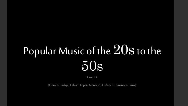 Popuar Music from the 20s to the 50s - Ragtime