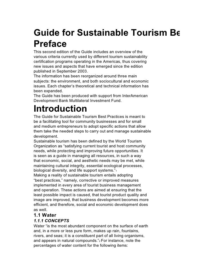 Guide for Sustainable Tourism Best Prac Preface This second edition of the Guide includes an overview of the various crite...