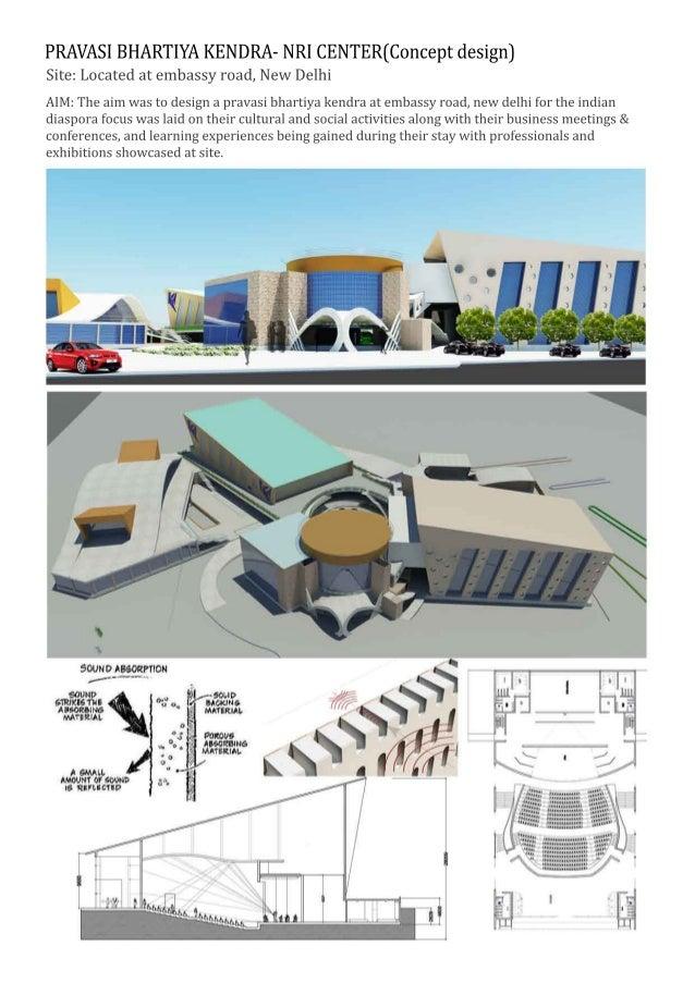 PRAVASIBHARTIYAKENDRA-NRICENTER(Conceptdesign) Site:Locatedatembassyroad,NewDelhi AIM:Theaimwastodesignapravasibhartiyaken...