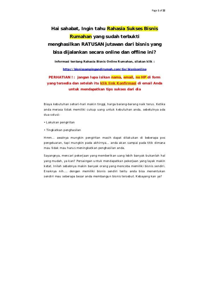 Page 1 of 22     Hai sahabat, Ingin tahu Rahasia Sukses Bisnis                 Rumahan yang sudah terbukti  menghasilkan R...