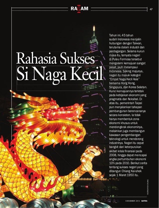 47 5 DESEMBER 2012 GATRA ra am REUTERS/PICHICHUANG Tahun ini, 45 tahun sudah Indonesia menjalin hubungan dengan Taiwan, te...