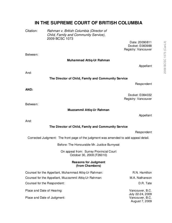 IN THE SUPREME COURT OF BRITISH COLUMBIACitation:      Rahman v. British Columbia (Director of               Child, Family...