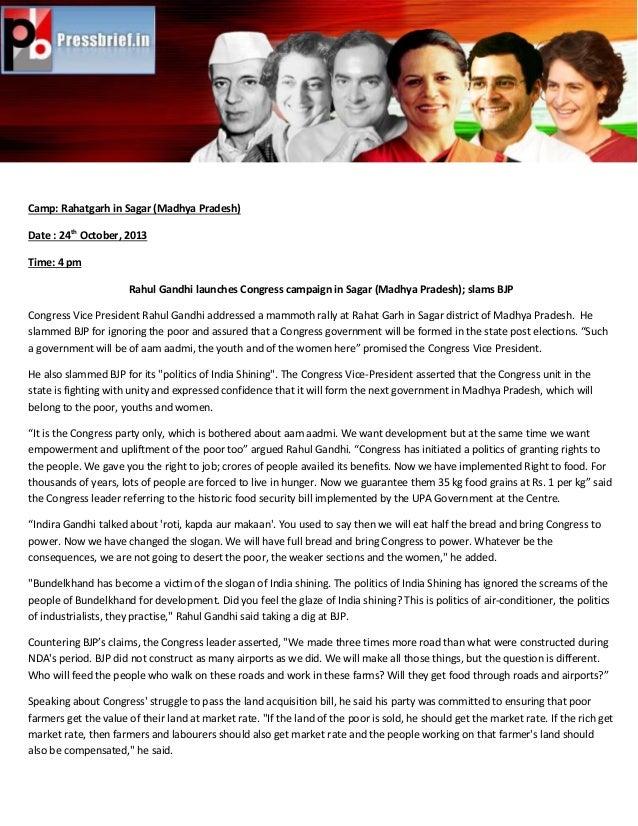Camp: Rahatgarh in Sagar (Madhya Pradesh) Date : 24th October, 2013 Time: 4 pm Rahul Gandhi launches Congress campaign in ...